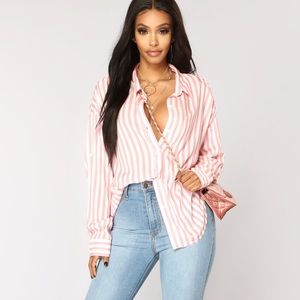 Fashion Nova Pink Striped Blouse